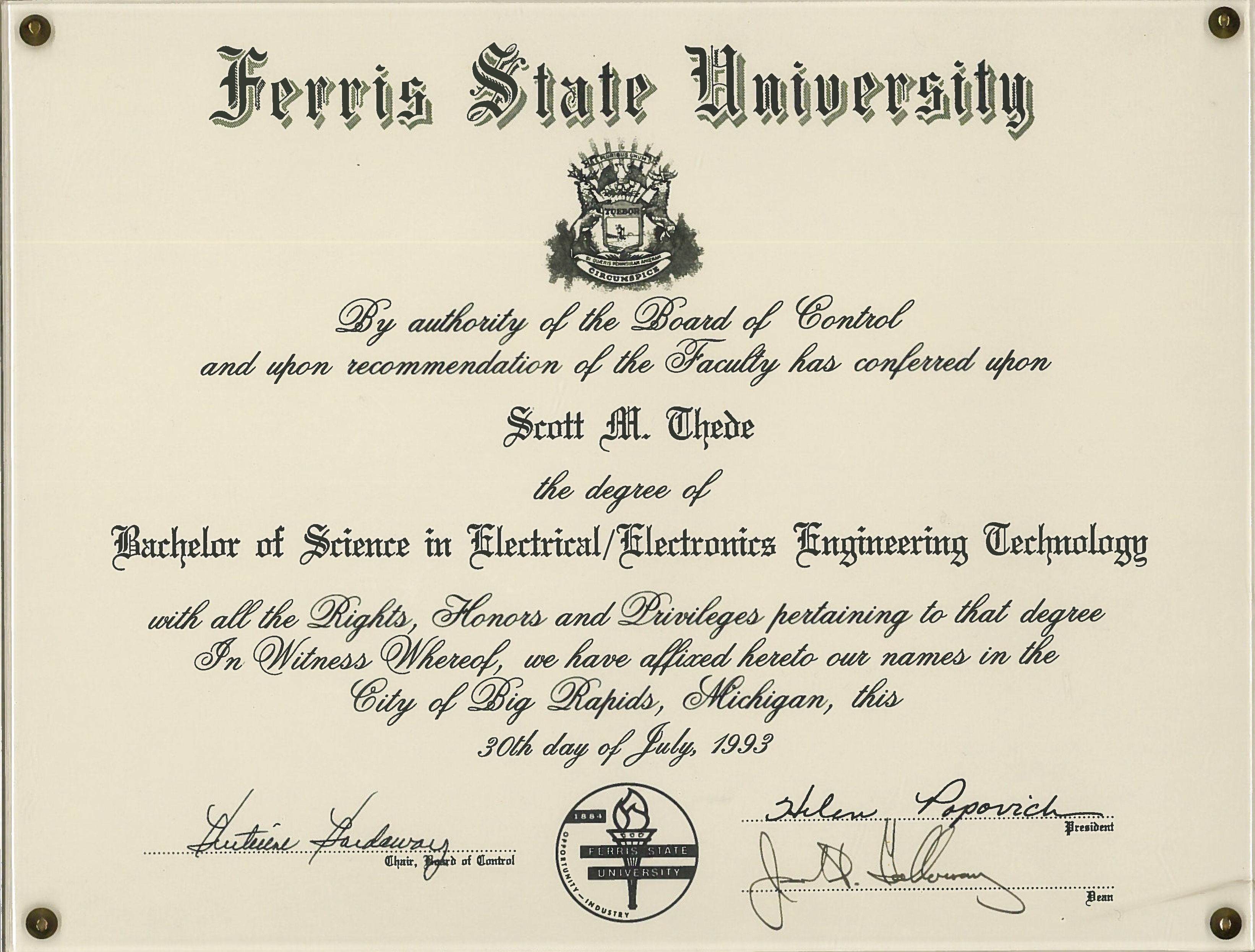 Degrees | Portfolio for Scott M. Thede